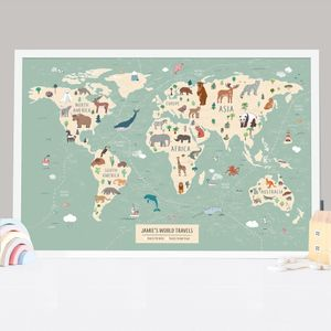 Kids Personalised Pinboard World Map