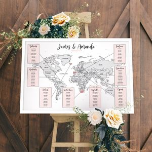 Wedding Map of the World Table Plan